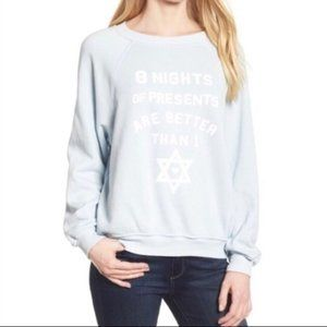 NWT Wildfox Blue 8 Nights of Presents Pullover